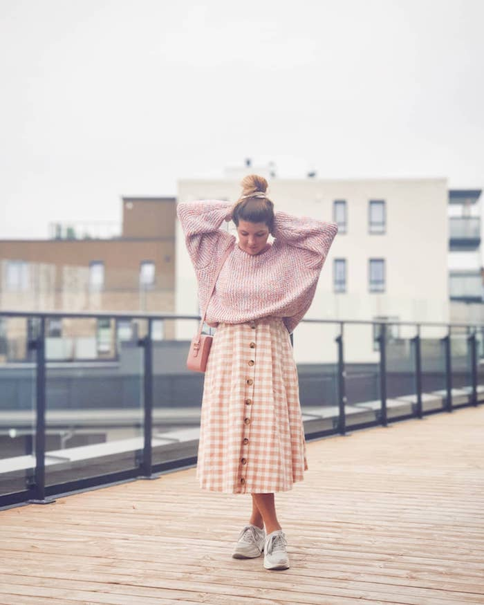 fashionable and sustainable pink gingham skirt